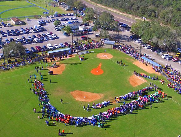 Aeriel view of baseball diamond during a game