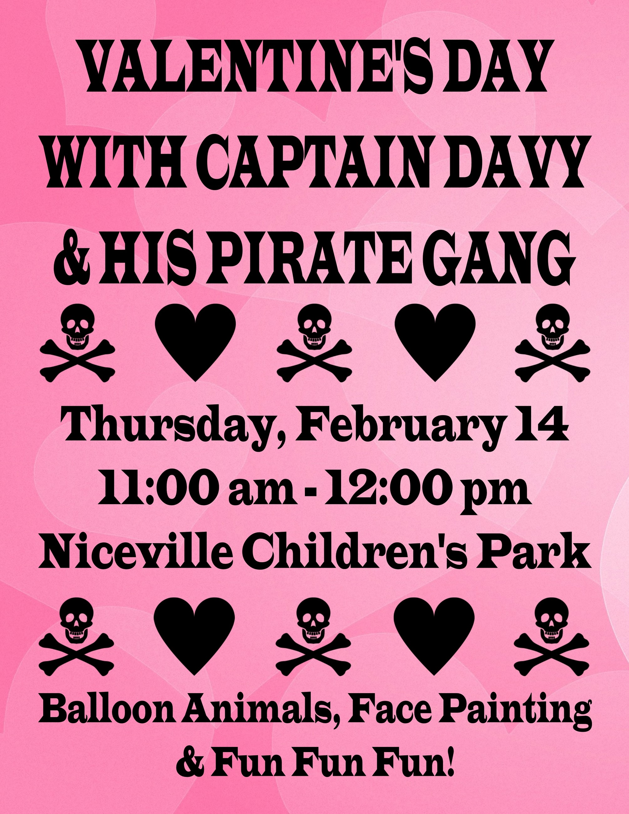 Flyer advertising Valentines Day with Captain Davy at the Niceville Children's Park