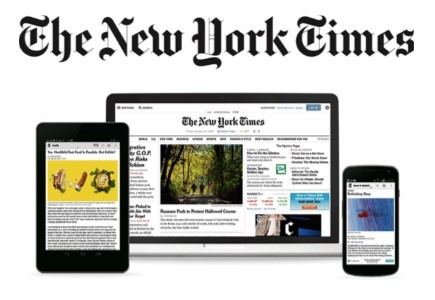 New York Times displayed on digital devices