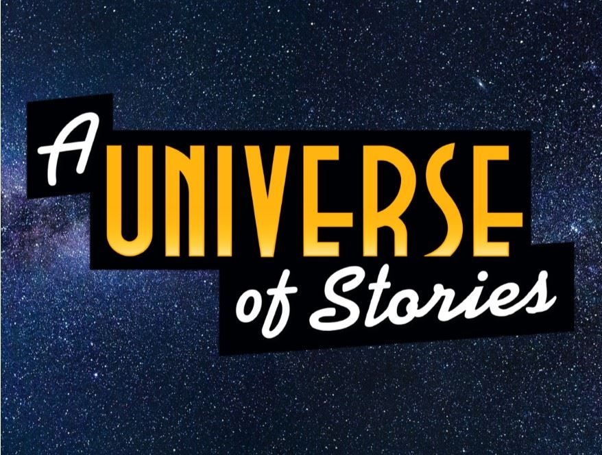 A Universe of Stories Summer Reading 2019 Logo in front of image of stars