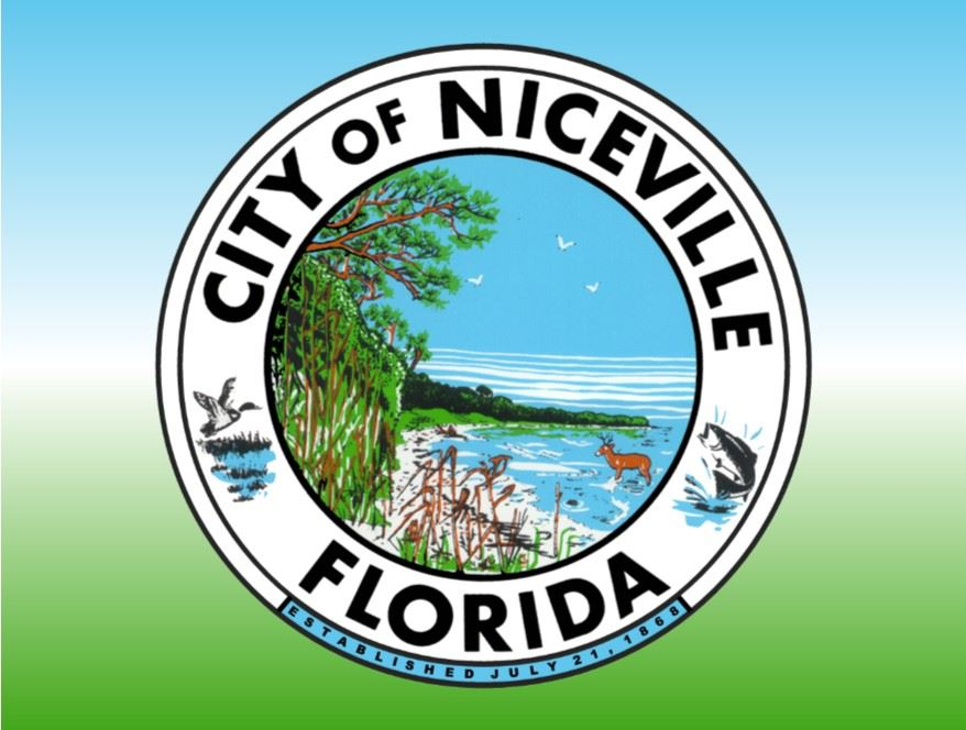 City of Niceville Seal with blue white and green background